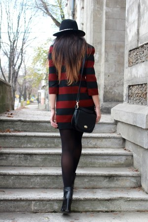 black Zara boots - brick red Zara dress - black Zara hat