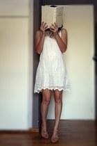 white lace Pull & Bear dress - nude t-bar Zara sandals
