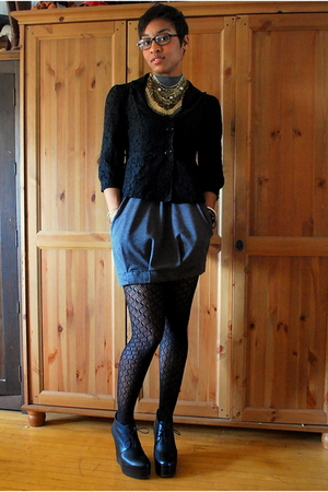 f21 blazer - f21 dress - f21 tights - acne shoes - self-designed necklace