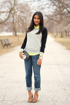 neon Old Navy blouse - skinny Abercrombie&Fitch jeans