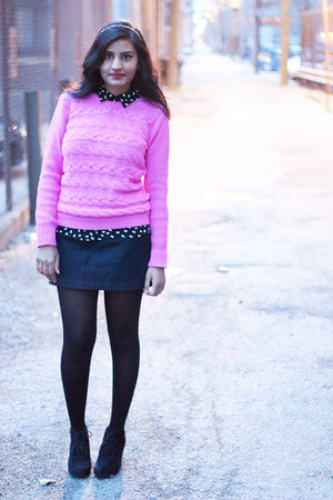 black ankle boots Target boots - hot pink pink Forever 21 sweater