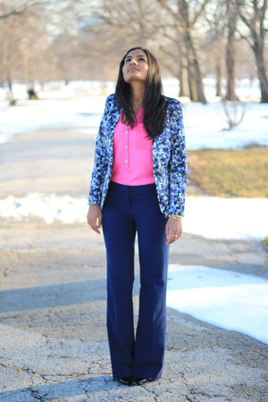 pink Khols top - printed H&amp;M blazer - blue TJMaxx pants - cap toe Zara heels