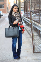 leopard print Zara scarf - boot cut Gap jeans - thirfted BCBG blazer