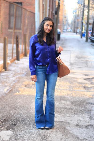 flare Paige Denim jeans - brown Ebay bag - royal blue H&M blouse