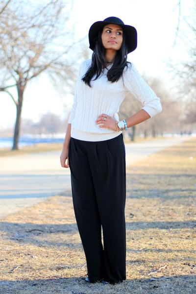 black H&M hat - black Primark pants - cable knit H&M top
