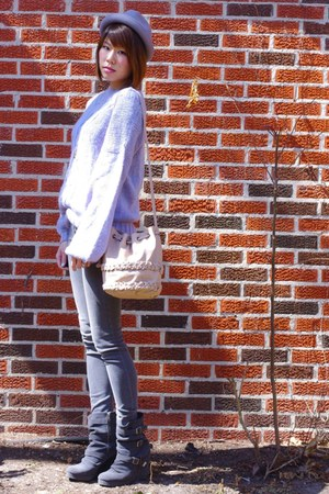 gray wedge buckle Madison Harding boots - charcoal gray jeggings Gap jeans - cha