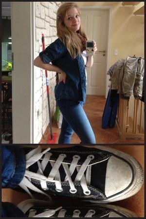 black Converse shoes - blue jeans - blue Accessorize jacket - brown scarf