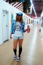 periwinkle Bershka shorts - blue U-man hat - sky blue jeans jacket