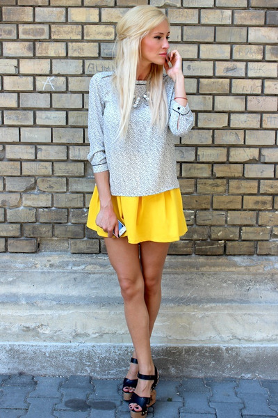 romwe skirt - storets wedges - H&M blouse - H&M necklace
