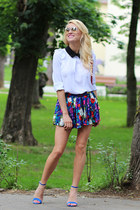 romwe bag - romwe shorts - Zara heels - Sheinside blouse