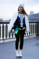 blue baroque print Sheinside sweater - white gem embellished DIY hat