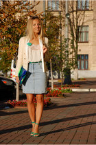 light blue denim vintage skirt - cream Mango blazer - ivory lace Topshop shirt