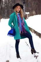 blue candy Furla bag - turquoise blue woolen PERSUNMALL coat