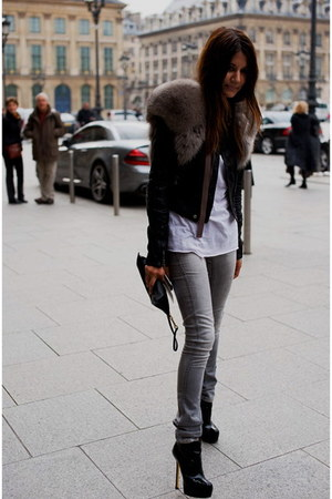 black ankle boots boots - heather gray jeans - black leather fur jacket