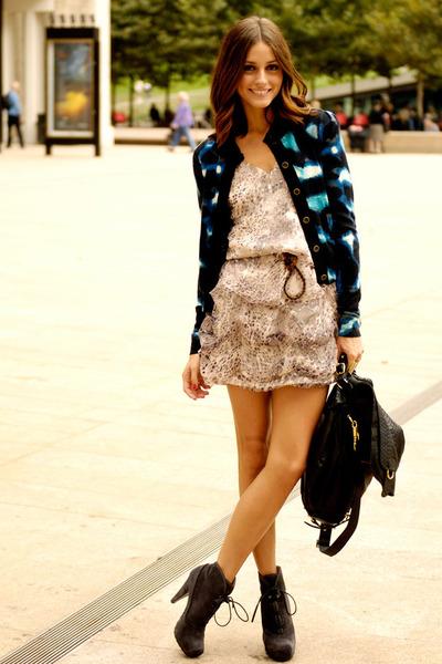 blue checkered blazer - gray boots - heather gray dotted dress - black bag