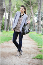 black balenciaga bag - heather gray Crime shoes - navy Fornarina jeans