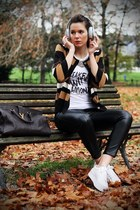 white Jeffrey Campbell shoes - dark brown YSL bag - black BLANCO pants