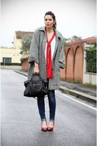 black vintage coat - red I love Shoes shoes - navy Rifle jeans