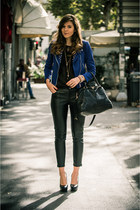 black albano shoes - navy romwe jacket - black Prada bag - black asos blouse