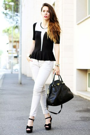 black buffalo lizzy shoes - beige asos shirt - black Prada bag