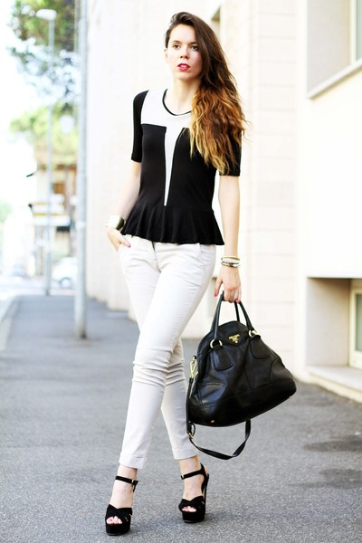 black buffalo lizzy shoes - beige asos shirt - black Prada bag