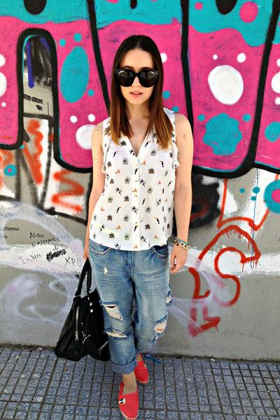 white H&M top - blue Zara jeans - black balenciaga bag - black Celine sunglasses