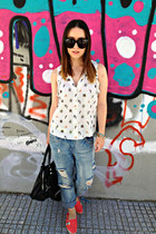 white H&M top - blue Zara jeans - black balenciaga bag - black Celine sunglasses