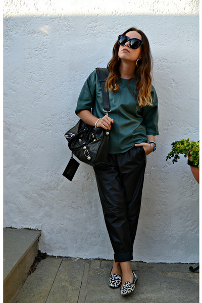 black balenciaga bag - black Celine sunglasses - dark green asos top