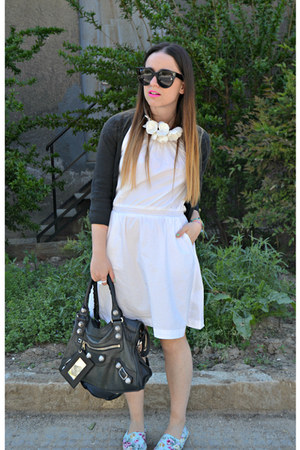 black Zara bag - black balenciaga bag - white H&amp;M dress
