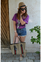 brown Gucci bag - light brown Zara hat - blue Levis shorts