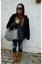 black Burberry coat - brown Ugg & Jimmy Choo boots - blue DSquared jeans