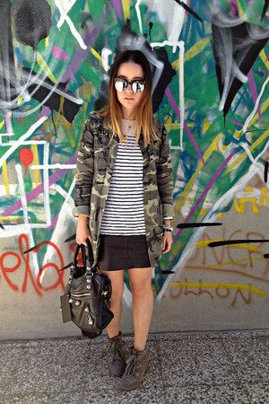 dark khaki Zara cardigan - black balenciaga bag - black Tally Weijl sunglasses