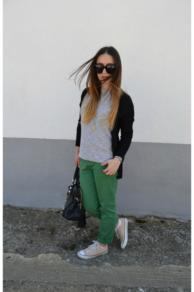 green Gucci pants - black balenciaga bag - black Celine sunglasses