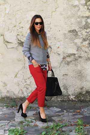 red gold sign pants - heather gray milly sweater - black Michael Kors bag