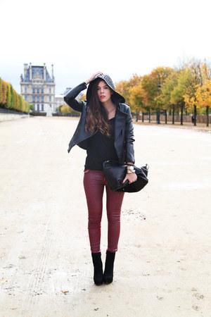 black Nour Hammour jacket - black Anye By bag - crimson 75 faubourg pants