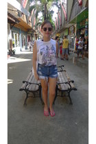 Urban Outfitters shorts - Topshop top - Ipanema sandals