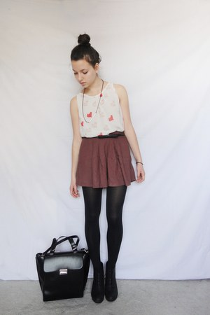 briefcase style Zara bag - polka dot pull&bear skirt - cat Zara blouse