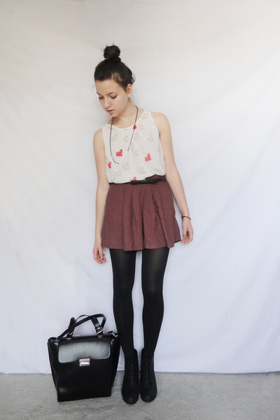 cat Zara blouse - briefcase style Zara bag - polka dot pull&bear skirt