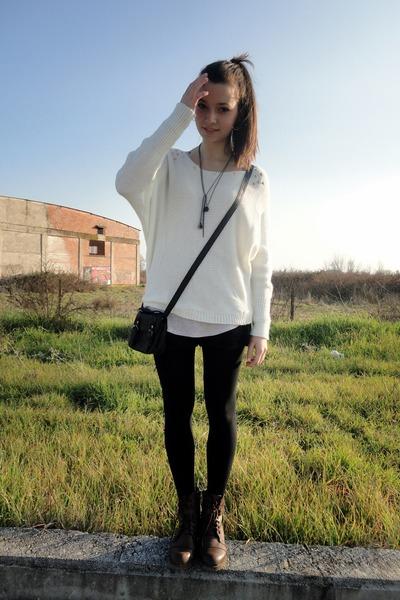 black lace Zara shorts - dark brown lace up Attrativo boots