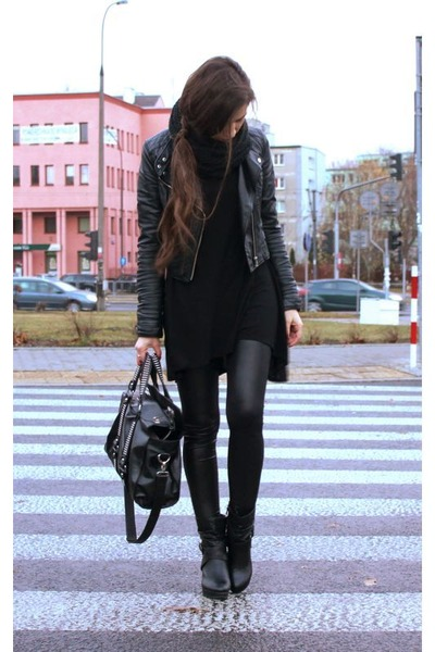 black boots - black jacket - black leggings - black bag