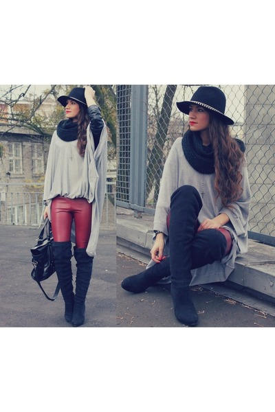 black boots - black hat - ruby red leggings - black bag