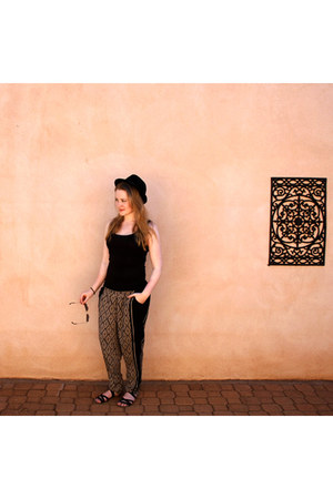 studded new look hat - aztec Now pants - black H&M top - strappy Scamm sandals