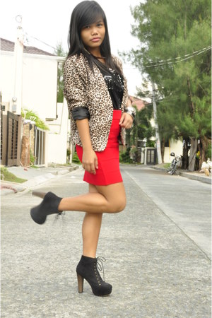 black Forever 21 top - brown SM blazer - ruby red bandage Forever 21 skirt