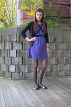 purple American Apparel dress - black tights - black sweater