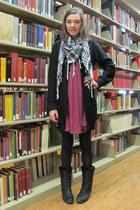hot pink dress - black scarf - black cardigan