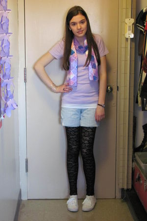 black Target leggings - white City Sneaks shoes - purple t-shirt - blue shorts -