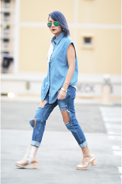 patchwork denim shirt shirt - Transarent Shoes shoes - cutout Denim Jeans jeans
