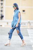 patchwork denim shirt shirt - Transarent Shoes shoes - cutout Denim Jeans jeans