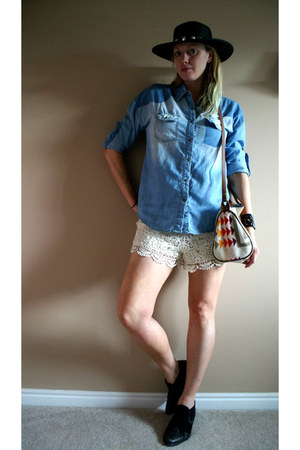 blue Forever 21 shirt - black Lucky Brand boots - cream Forever 21 shorts