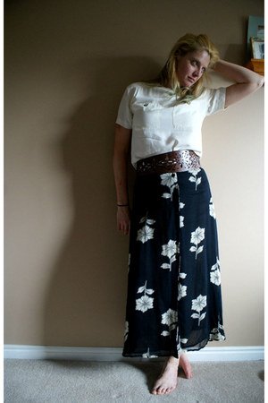cream thrifted vintage shirt - black floral 70s maxi thrifted vintage skirt